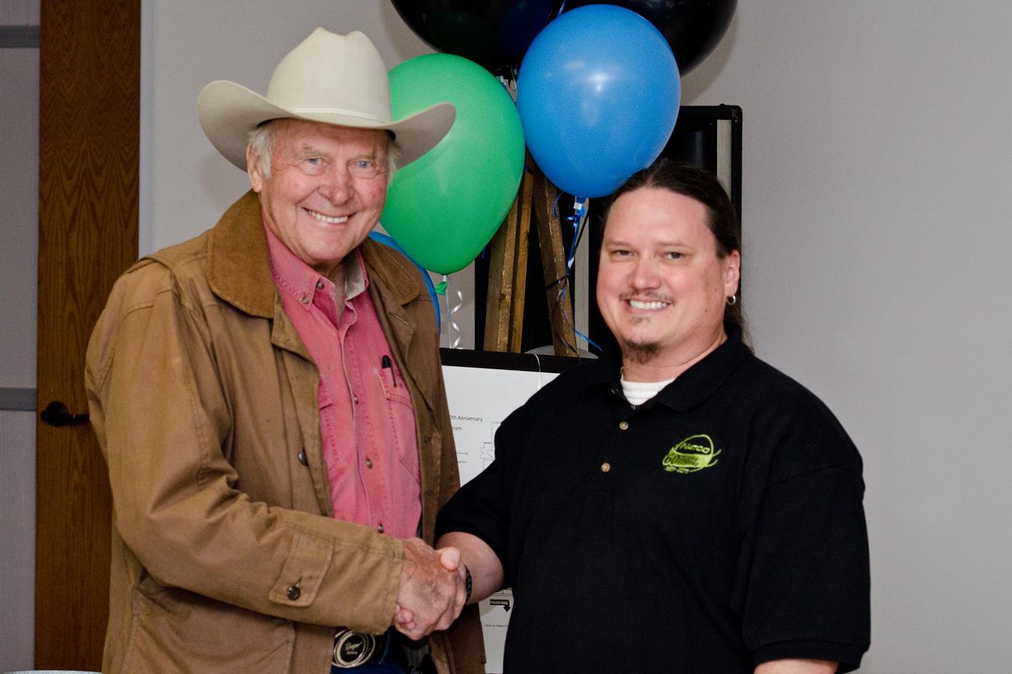 Forrest L. Wood poses with Steven Sanders, Jr.