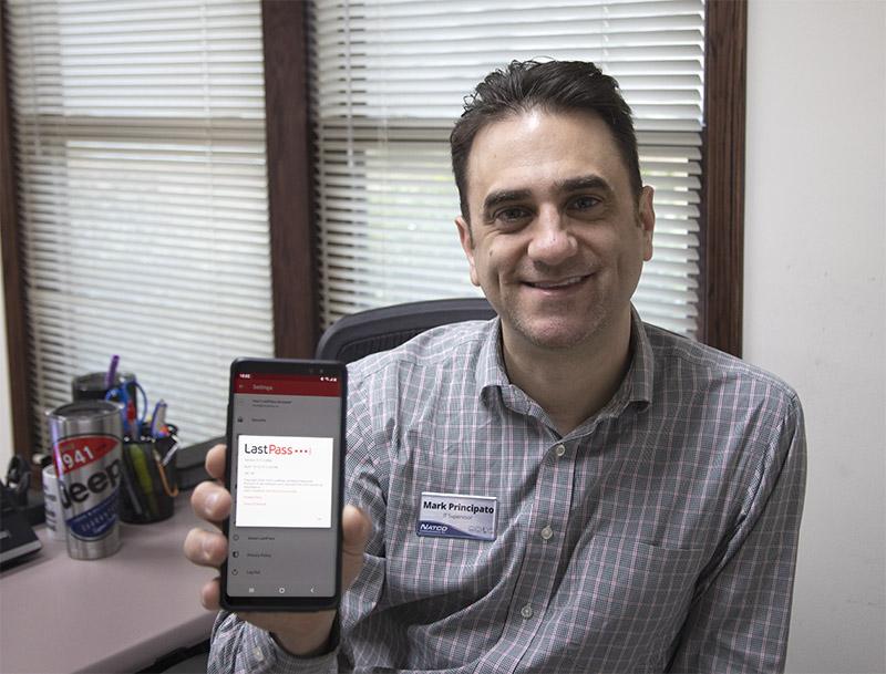 NATCO Internet Support Supervisor Mark Principato showing LastPass on his phone
