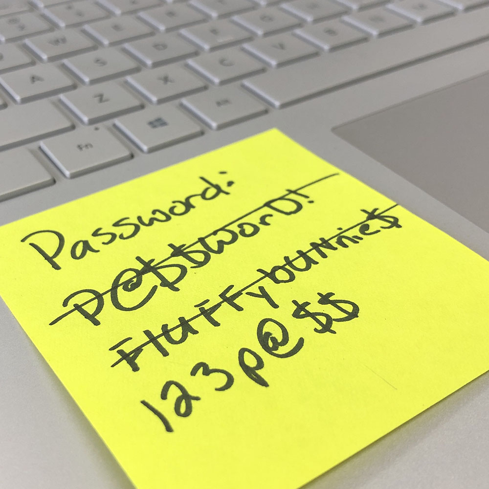 Note with a list of simple, unsafe passwords