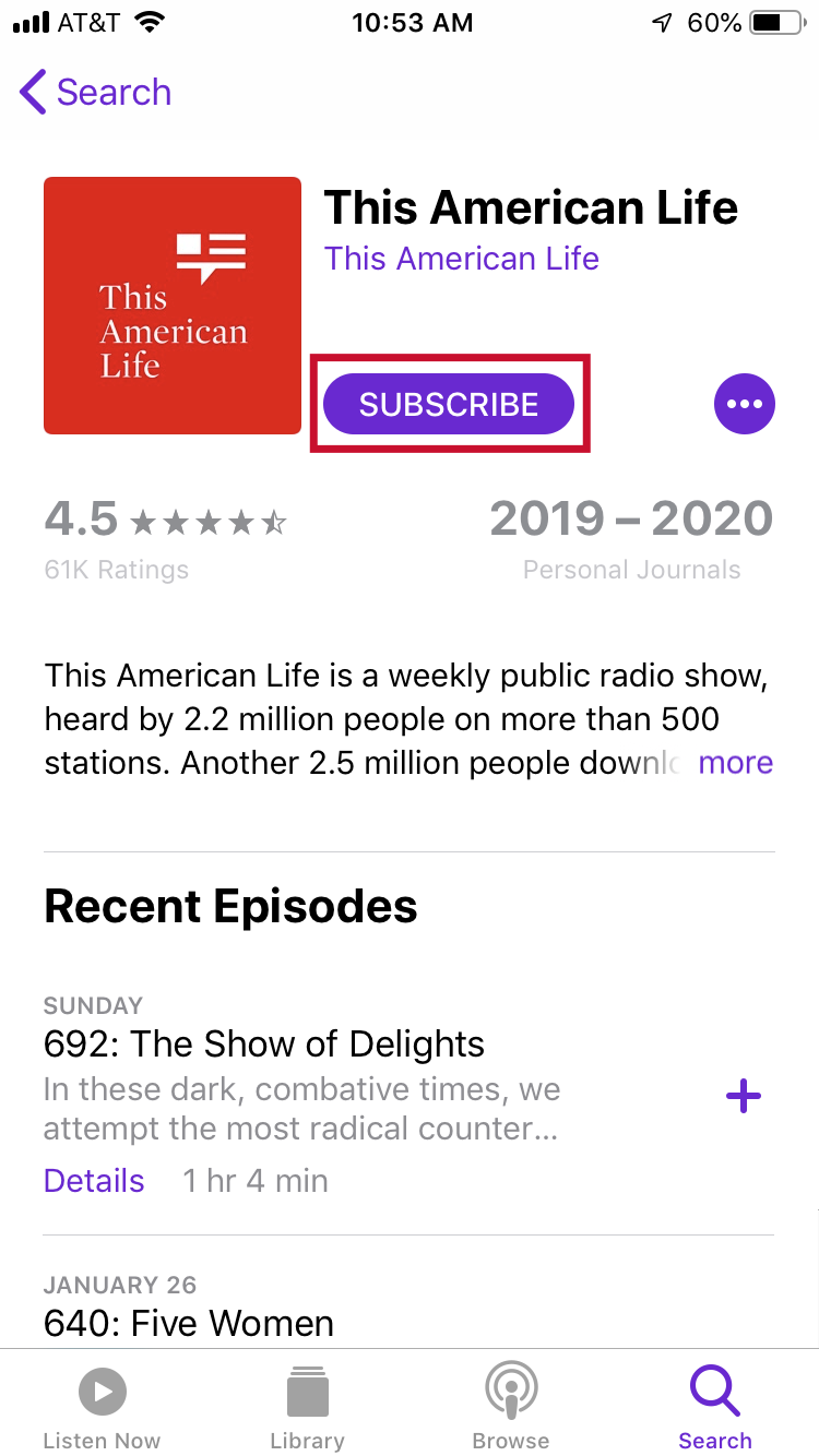 """Screenshot of """"Subscribe"""" button on This American Life podcast"""