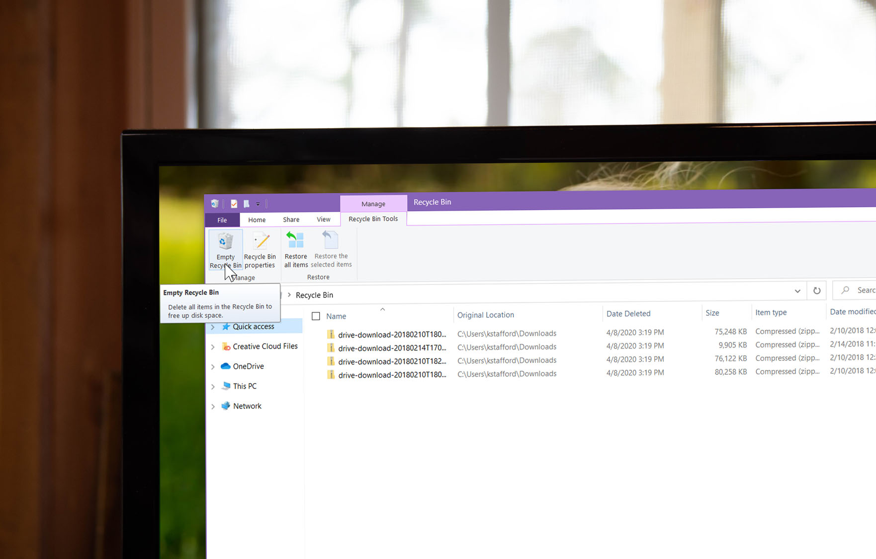 Photo of the Recycle Bin on Windows